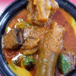 Amala/Gbegiri/Ewedu served with Stew/Abula