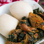 Vegetable or Egusi Soup with Pounded Yam